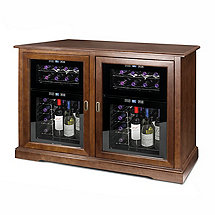 Siena Mezzo Wine Credenza (Walnut) and Two 24 Bottle Touchscreen Wine Refrigerators