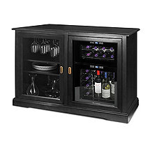 Siena Mezzo Wine Credenza (Nero) and 24 Bottle Touchscreen Wine Refrigerator