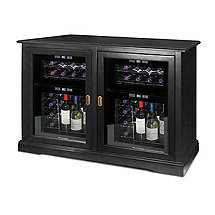 Siena Mezzo Wine Credenza (Nero) and Two 24 Bottle Touchscreen Wine Refrigerator