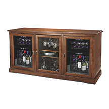 Siena Triple Wine Credenza (Walnut) with Two Wine Refrigerators