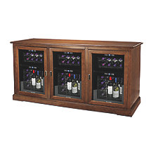 Siena Triple Wine Credenza with Three 24 Bottle Touchscreen Wine Refrigerator