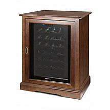 Siena Single Wine Credenza PLUS 1 Free 28 Bottle Touchscreen Wine Refrigerator (Walnut)