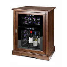 Siena Single Wine Credenza with 24 Bottle Dual Zone Touchscreen Wine Refrigerator (Walnut)