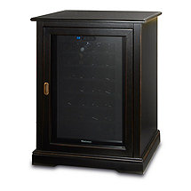 Siena Single Wine Credenza with 28 Bottle Touchscreen Wine Refrigerator (Nero)