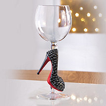 Collectible Black with Red Sole Stiletto Wine Glass