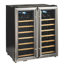 Wine Enthusiast Silent 48 Bottle Double Door Dual Zone Wine Refrigerator (Stainless Steel Trim Door) (Wood Shelves)