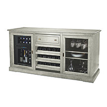 Siena Wine Credenza (Distressed Gray) with 24 Bottle Touchscreen Wine Refrigerator