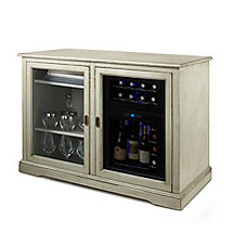 Siena Mezzo Wine Credenza (Distressed Gray) and 24 Bottle Touchscreen Wine Refrigerator