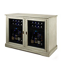 Siena Mezzo Wine Credenza (Distressed Gray) and Two 24 Bottle Touchscreen Wine Refrigerators
