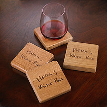 Personalized Reclaimed Barrel Stave Coasters (Set of 4)