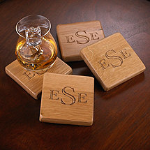 Monogrammed Barrel Stave Coasters (Set of 4)