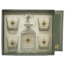 Compass Rose Whiskey Decanter Set