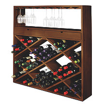 Jumbo Bin and Wine Glass Rack (Walnut)