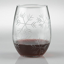 Etched Snowflake 'U' Stemless Tumblers (Set of 4)