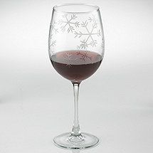 Etched Snowflake Stemmed Wine Glasses (Set of 4)