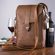 Genuine Leather 2-Bottle Brown Wine Tote with Monogrammed Tag