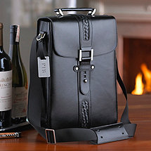 Genuine Leather 2-Bottle Black Wine Tote with Monogrammed Tag