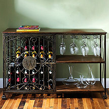 42-Bottle Antiqued Steel Wine Jail Console (with Stem Rack)