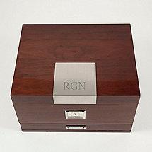 Monogrammed Bey-Berk Walnut Cedar-Lined Wooden Humidor