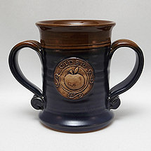 Two Handled Green/Brown Cider Mug