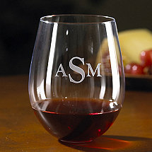Monogrammed Wine Enthusiast U Cabernet Stemless Wine Glasses (Set of 4)