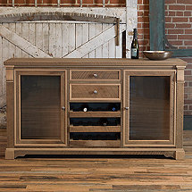 Reclaimed Wood Oak Grey Wash Wine Credenza
