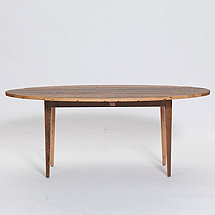 Reclaimed Wood Oval Drop Leaf Dining Table