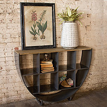 Industrial Demilune Console with Cube Shelves