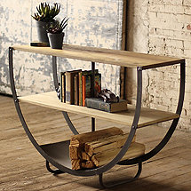 Industrial Demilune Console with Shelves