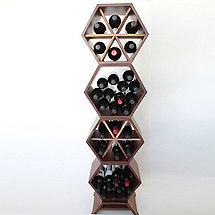 Hive Modular Wine Rack 4 Piece (Walnut)