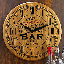Personalized Whiskey Barrel Head Clock