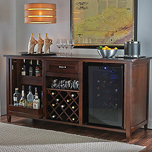 Firenze Wine and Spirits Credenza with Free 28 Bottle Touchscreen Wine Refrigerator