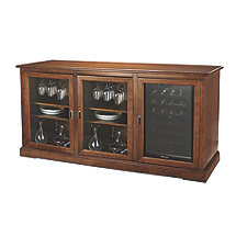 Siena Triple Wine Credenza with 28 Bottle Touchscreen Wine Refrigerator (Walnut)