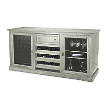 Siena Wine Credenza PLUS 1 Free 28 Bottle Touchscreen Wine Refrigerator (Distressed Gray)