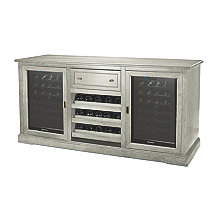 Siena Wine Credenza with Two 28 Bottle Touchscreen Wine Refrigerator (Distressed Gray)