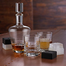 Highlands Five Piece Whiskey Decanter, Glasses & Ice Molds Set