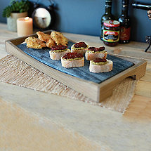 Soapstone Oven to Table Platter with Wooden Holder