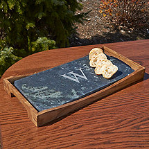Personalized Soapstone Oven to Table Platter with Wooden Holder