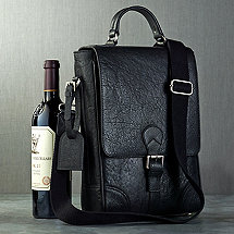 2-Bottle Leather BYO Wine Bag with Monogrammed Hang Tag