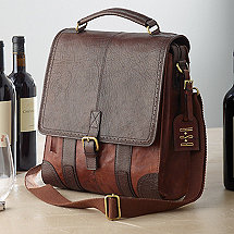3-Bottle Leather BYO Wine Bag with Monogrammed Hang Tag