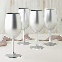 Gala Holiday Silver Acrylic Glasses (Set of 4)