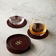 Monogrammed Leather Coasters and Stand (Set of 6)
