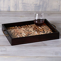 DIY Wine Cork Serving Tray with Antique Brass Handles
