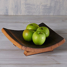 Square Wine Barrel Stave Tray with Feet
