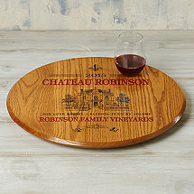 Personalized Barrel Head Lazy Susan with Estate Graphic