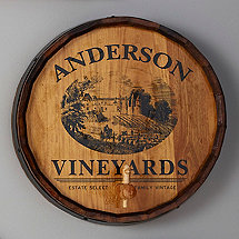 Personalized Quarter Barrel Head Sign With Spigot Vineyard Graphic
