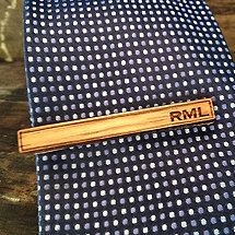 Monogrammed Reclaimed Bourbon Barrel Tie Clip