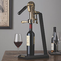 Legacy Corkscrew with Monogrammed Black Marble Stand and Handle (Antique Bronze)