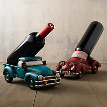 Vintage Car & Winery Truck Wine Bottle Holder Set