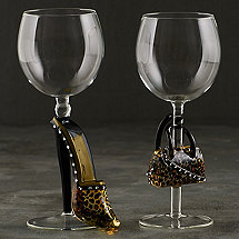 Collectible Leopard Stiletto and Handbag Wine Glass Set